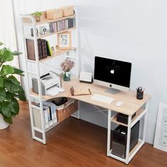 Merax Computer Desk with Shelf Workstation Study Table Home Office Oak - Home Office Space, Home Office Desks, Apartment Office, Office Workspace, Home Office Furniture Desk, Home Office Table, Small Space Office, Desk Space, Room Ideas Bedroom
