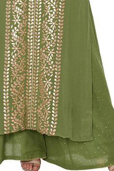 Mehandi Green Gota Patti Embroidered Kaftan Kurta With Mukaish Palazzos Salwar Kurta, Sharara, Anarkali, Kurti, Drape Pants, Green Suit, Bridal Blouse Designs, Embroidered Clothes, Chiffon Saree