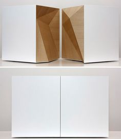 WITHIN polygonal seat / table set. The pieces fit together completely and when closed they create the shape of a simple white box. By Studio Vision.