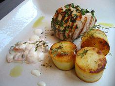 Recepten - Gemarineerd gegrild varkenshaasje met ovenaardappelen en zalmsaus