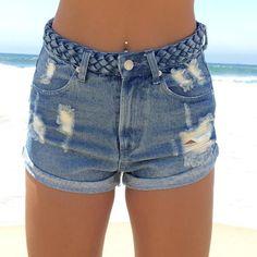 Braid Waist Denim Shorts