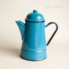 Vintage Retro Bright Blue Enamel French Style Coffee Pot with Lid by UpStagedVintage on Etsy