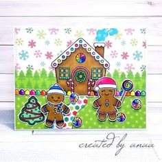 Sunny Studio Stamps: Jolly Gingerbread Customer Card by Ana A Christmas Cards 2018, Christmas Themes, Christmas Holidays, Friends Valentines Day, Sunnies Studios, Vintage Jars, Shaker Cards, Heart Cards, Best Gifts