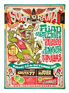"""""""Surforama Madrid Cartel para un festival de música surf. Festival Posters, Concert Posters, Event Posters, Gig Poster, Music Posters, Graphic Design Posters, Graphic Design Inspiration, Rock Posters, Graphic Illustration"""