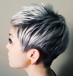 short black pixie with ash blonde balayage
