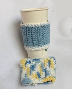 Crocheted Coffee/Tea/Cocoa Sleeve blue white by WizardAtWork, $6.00
