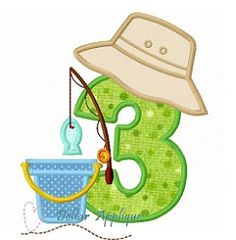Fishing 3 Applique - 3 Sizes! | What's New | Machine Embroidery Designs | SWAKembroidery.com Dollar Applique