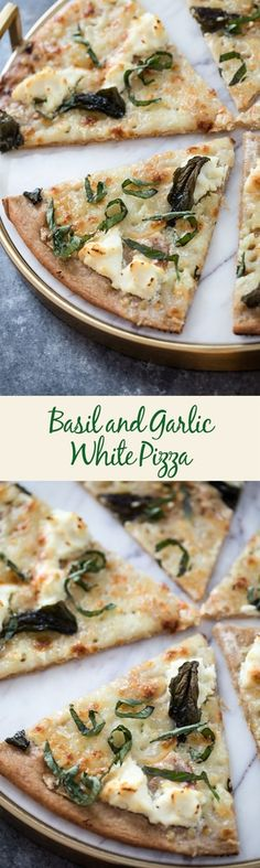 Basil and Garlic White Pizza -- Traditional pizza is always delicious, but there's something about a cheese-filled white pizza that really hits the spot. Add on a slathering of garlic oil and plenty of basil and you'll be in pizza heaven | wearenotmartha.com #pizza #whitepizza #flatbread #basil #cheese #garlic