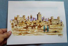 Traditionelle Original Gemälde mit Safran,Tee,Indigo und offene Flamme 31x24cm