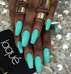 Nails by: Laque' Nail Bar Beautiful color! Teal Nails, Dope Nails, My Nails, Nails Turquoise, Bright Blue Nails, Tiffany Blue Nails, Bright Summer Acrylic Nails, Summer Nail Polish, Summer Nails Neon