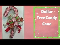 How to make a Candy Cane with Ribbon and Dollar Tree Candy Cane Form - YouTube