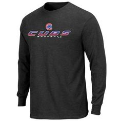Chicago Cubs Gridiron Tough Long Sleeve T-Shirt - Charcoal