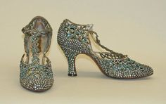 Rhinestone Heeled Sandals, 1933. Seymour Troy Originals.