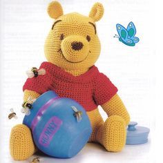 INSTANT DOWNLOAD PDF for Pooh and Friends  A fabulous pattern for all Winnie the Pooh fans - Pooh Bear, Piglet, Tigger and Eeyore all in one great pattern booklet!  Crochet classic cuddly toys. Great gifts! Finished toys are approx 18 ins tall Worsted weight or Double Knitting yarn and a 3.75mm crochet hook required  Great for story telling!   This vintage 1970s US crochet pattern has been digitally improved and converted to a PDF that can be downloaded as soon as payment has cleared…