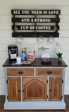 My Repurposed Life refurbished an old buffet into a beautiful and useful coffee station. I think this would also make a great kitchen island or a portable bar! (it has wheels)