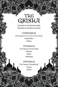 A list of the Grisha Orders that appears at the beginning of SHADOW AND BONE by Leigh Bardugo