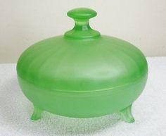 HTF Vintage Anchor Hocking Satin Glass Lidded Candy Powder Trinket Puff Jar Dish