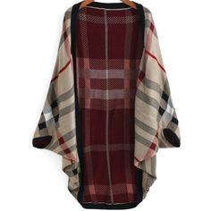 Red Khaki Batwing Sleeve Plaid Cardigan ($23) ❤ liked on Polyvore featuring tops, cardigans, multicolor, poncho top, cocoon cardigan, plaid cardigan, long sleeve cardigan and long sleeve tops