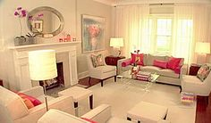 Sarah Richardson  Red accents Living Room