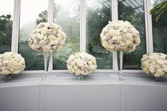 romantic wedding reception flowers topiary centerpieces   OneWed.com