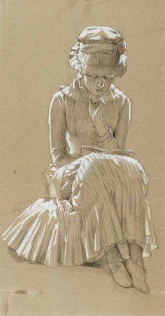 """huariqueje: """" A Girl Reading - Albert Edelfelt Finnish painter Drawing """" Art And Illustration, Illustrations, Reading Art, Woman Reading, Reading Books, Figure Drawing, Painting & Drawing, Toned Paper, Art Graphique"""