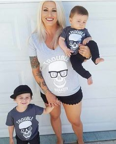 Trouble maker shirts fot mom and son!