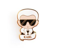 Gilt Metal and Hard Enamel Brooch with Bar pin attachment. Measures / tall Shipping: U. Karl Lagerfeld Taschen, Odette Et Lulu, Fendi, Boutique Accessoires, Joy Instagram, Chanel, Pin And Patches, Cute Pins, Handmade Gifts