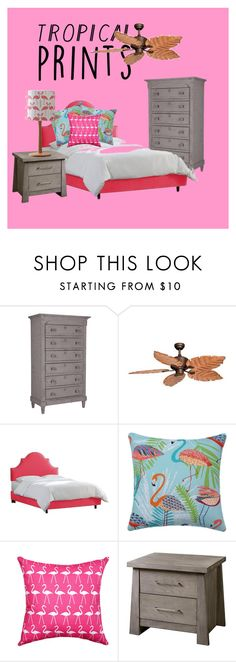 """""""Flamingo Bedroom"""" by songbird1413 on Polyvore featuring interior, interiors, interior design, home, home decor, interior decorating, Flamant, Vaxcel Lighting, Skyline and Home Decorators Collection"""