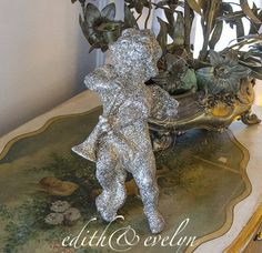 Vintage German Glitter Cherub Ornament, Statue, Angel with Horn by edithandevelyn on Etsy