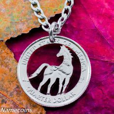 Horse Jewelry, Equestrian necklace, hand cut coin – NameCoins