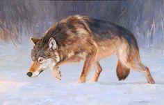 Heat Seeker: Wildlife art original oil painting of wolf stalking prey by artist and painter Dave Merrill