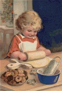 Making Cookies Cross Stitch Pattern - Vintage Illustration - Postcard Noel Christmas, Victorian Christmas, Christmas Cookies, Vintage Christmas, Christmas Mantles, Christmas Journal, Christmas Print, Silver Christmas, Christmas Humor