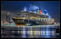 A transatlantic voyage on the Queen Mary 2 in first class of course! ! (Hamburg at night) by Dirk Rotermundt, via 500px