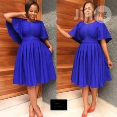Flaunt this cute butterful sleeves skater dress. Available in blue, custard yellow and red. To order: Call or add us on bbm For wholesale buying, please, indicate African Fashion Ankara, African Fashion Designers, Latest African Fashion Dresses, African Print Dresses, African Print Fashion, Africa Fashion, African Dress Styles, African Attire, African Wear