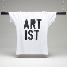 Artist White Stencil T-shirt. Artist white t-shirt printed with black ink. White T, Printed Shirts, Artist, T Shirt, Shopping, Black, Image, Supreme T Shirt, Tee Shirt