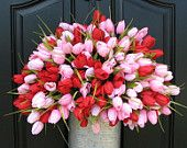Tulips Farmhouse Tulips Door Wreaths Spring Tulips Mother's Day Wreath Tulips Trending Wreaths Shabby Chic Decor