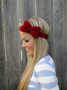 Crimson Red Bow Headband With Natural Vegan Coconut Shell Buttons - Adjustable on Luulla