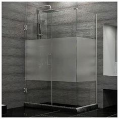 DreamLine Unidoor Plus 30.375 - 34.375 in. D x 29 in. W Frameless Hinged Shower Enclosure, Half Frosted Glass, Brown