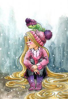 Rapunzel ~ Seems that Pascal doesn't like snow Disney Nerd, Arte Disney, Disney Fan Art, Disney Love, Disney Magic, Disney Style, Rapunzel Flynn, Rapunzel And Eugene, Disney Rapunzel
