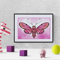 Butterfly nursery decor, butterfly watercolor nursery print,  moth print, girl bedroom decor, printable