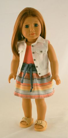American Girl Doll Clothes Sleeveless Jean by Forever18Inches