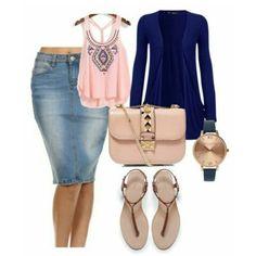 Navy & Pink Denim Skirt Outfit ⌚  Denim Skirt available at www.jupedeabby.com! #pentecostalfashion