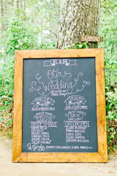 chalkboard sign for wedding ceremony
