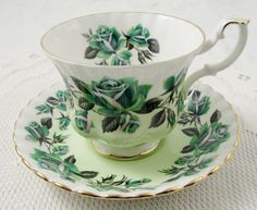 "Royal Albert Green Rose ""Lakeside Series Grasmere"" Tea Cup and Saucer, Vintage Bone China"
