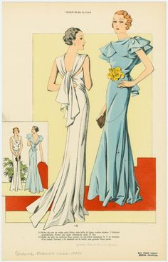 [Two women wearing evening gowns, front and back views.] 1930s