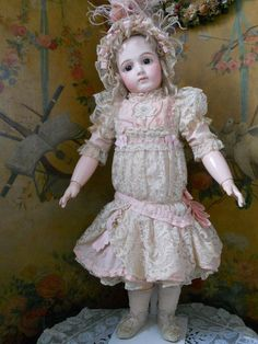 ~~~ Superb French Childlike Rose Silk and Lace BeBe Costume ~~~ from whendreamscometrue on Ruby Lane