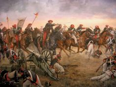 Batalla de Viana. Carga de la caballería carlista dirigida por Zumalacárregui