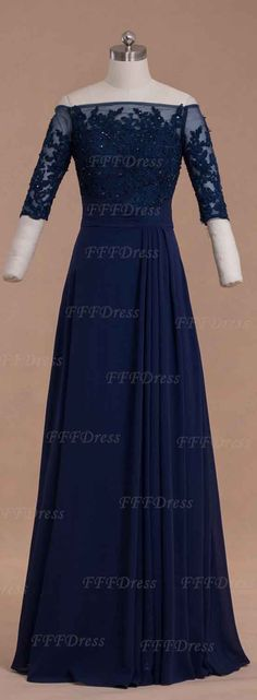Modest off the shoulder navy blue long prom dresses with half sleeves, mother of the bride dresses, mother of the groom dresses, wedding guest dresses,formal dresses