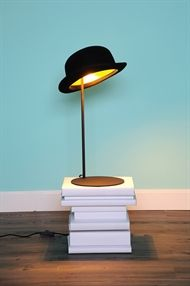 A black bowler hat table lamp called Jeeves. The outside is felt and the inside is gold to produce a warm ambient lighting, a designer table lamp. Funky Lighting, Lighting Design, Lighting Ideas, Light Table, Lamp Light, Aluminum Table, Gold Interior, Lamp Design, Lights