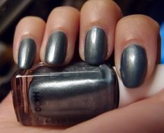 Essie Fair Game - a steel blue shimmer with a pearly finish. Click the image for more!